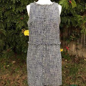 MICHAEL KORS Navy/White Tweed Shift Fringe Dress